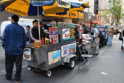 This definitely isn't a Buddhist Hot Dog Vendor